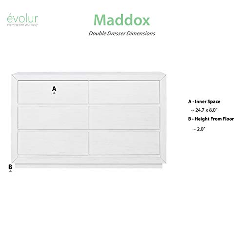 Evolur Maddox Double Dresser, Weathered White