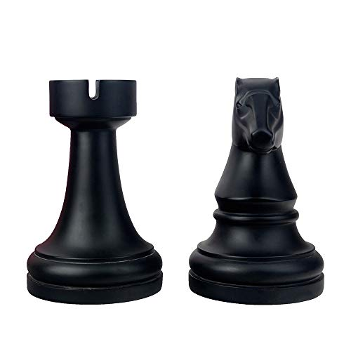 Product Image 4: Decorative Bookends, Unique Book Ends – Supports for Heavy Books, Home Decor Suitable for Office, Home, 7(L) x4(W) x7(H) inch, Black,1Pair/2Piece (Chess bookend)