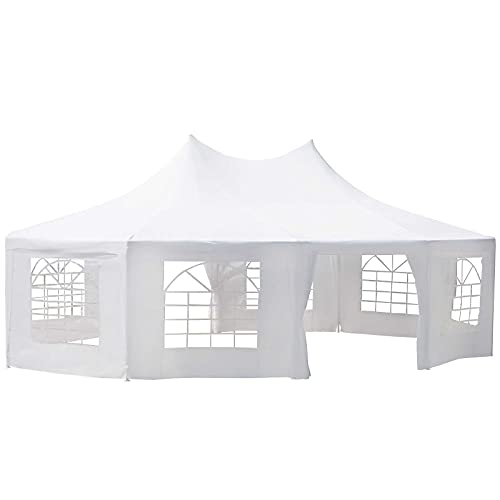 Outsunny 29'x20' Large 10-Wall Event Wedding Gazebo Canopy Tent with Open Floor Design & Weather Protection, White