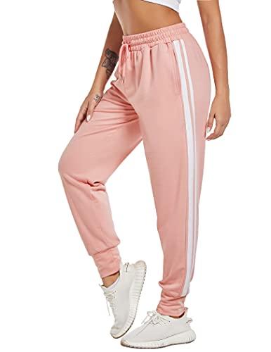 COOrun Jogginghose Damen Jogger Trainingshose Sportwear Streetwear lang Sweathose Sweatpants mit Bündchen und 2 Streifen Rosa S