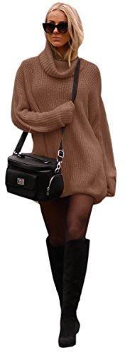 Mikos Damen Strickpullover Sweater Rollkragen Pullover Kuscheliger Jumper Strick Pulli Oversize (648) (Braun)