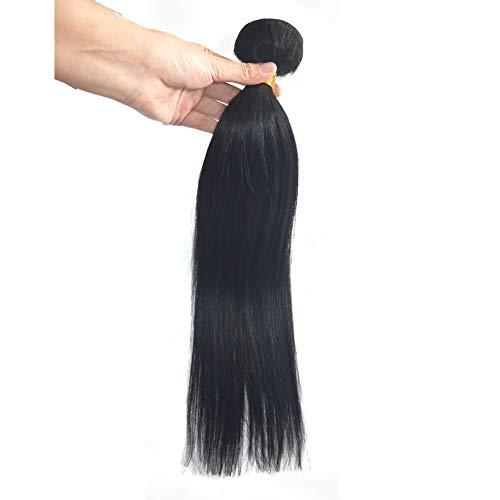 Greemeo Lisse Brésilien Cheveux Tissage 100% Réel Cheveux Humains Extension Sleek Straight 100 Grammes 1 Bundle Pack (22 Pouces, 1 Noir foncé)