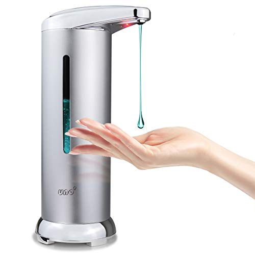 UNO Dispensador Gel Hidroalcoholico 280ML, Dispensador de Jabón Automatico con Acero Inox, Sensor de Movimiento por Infrarrojos, Base Impermeable IPX4, Ideal para Baño, Cocinas, Negocios, Etc.