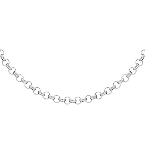 TJC Round Belcher Chain Necklace for Women 925 Sterling Silver Size 24'