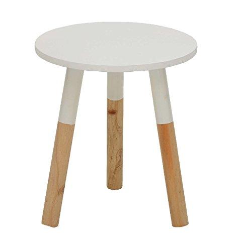 AVANTI TRENDSTORE - Tavolino / Sgabello bianco in MDF con gambe in pino massiccio