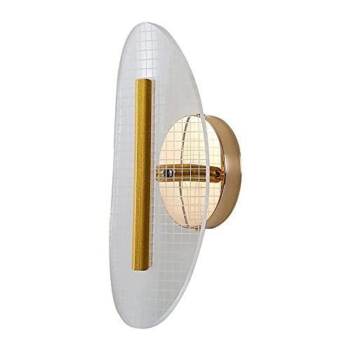 Lámpara de pared de cámara elíptica acrílica LED europea, Lámpara de cabecera interior dorada, Diseño creativo simple europeo, Ángulo ajustable, Accesorio de iluminación, Instalación de pared
