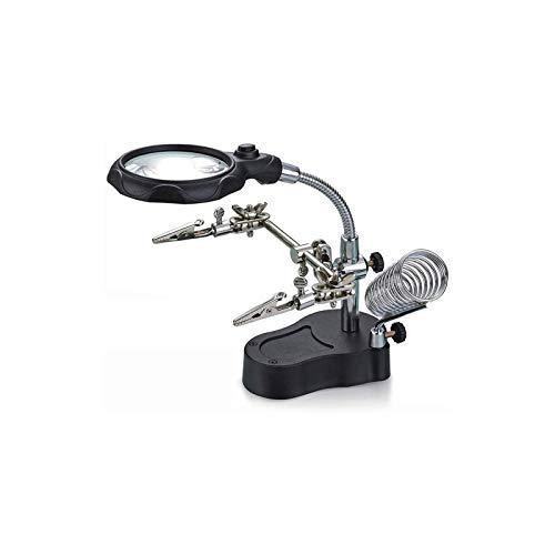 Lupas iluminadas montadas en la cabeza , Multifuncional Auxiliar Clip de soldadura eléctrica de hierro con lupa LED 12x y 3,5x Magnifier de escritorio de soporte para lectura de joyería. para pasatiem