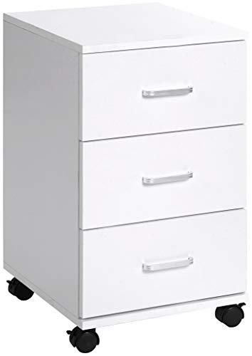 ts-ideen Aktenschrank Kommode Rollcontainer mit 3 Schubladen Aufbewahrung Holz Weiß 60 x 35 cm