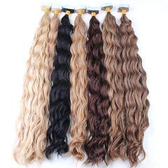 RemeeHi Remy Human Hair Natural 20 Pieces Curly PU Tape In Hiar Extensions 18 Inch 60 Gram Per Package 30# Auburn Brown
