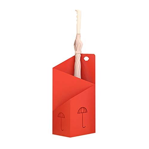 JLXJ Paragüeros Paragüero Moderno, Puerta de Entrada Ahorro de Espacio Soporte Organizador Independiente, para La Oficina en Casa Paraguas Plegable Largo y Corto (Color : Red)