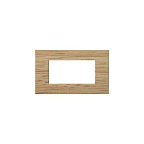 LineteckLED -LNT8004 17- Serie Completa di Placche per Interruttori Prese- Placca 4 Posti Abete 4M Compatibile living (Abete)