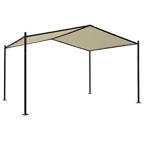 Mendler Pergola HWC-A42, Garten Pavillon Terrassenüberdachung, stabiles 6cm Stahl-Gestell 4x3m ~ Creme