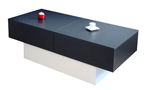 Berlioz Creations Alicia salontafel, met folie beklede spaanplaat, zwart en wit, 123 x 51,5 x 43 cm