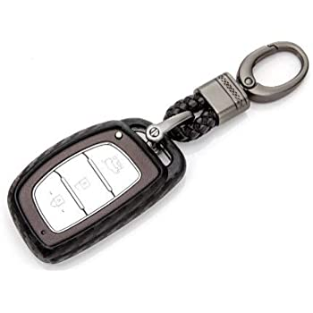 JVCV® Car Styling Soft Carbon Fiber Pattern Key Cover Fit only for Push Button Start Hyundai Smart Key with Keychain