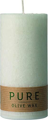 safe candle Pure Olive Wax Kerze selbstverlöschend, 4 Stück, umweltfreundlich, plastikfreie Verpackung (60% weniger CO₂), Höhe 13 cm/Ø 6 cm