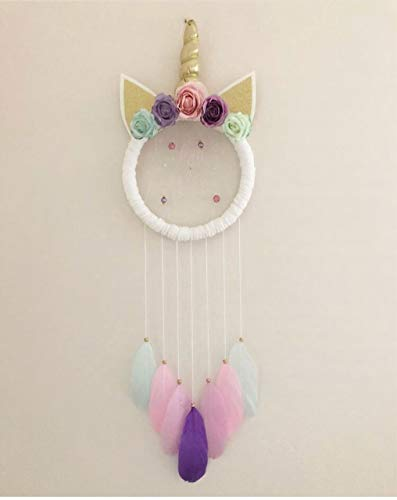 DaTun648 Source Factory Ins Wind Nordic Unicorn Dream Catcher Feather Pendant Wind Chime Dream Girl Heart Princess Decoration White horn