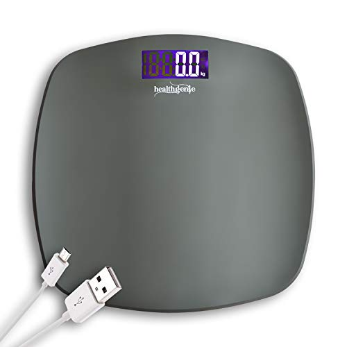 Healthgenie Personal Weighing Machine for Body Weight with USB charging,(Gray)