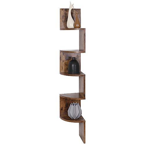 BAKAJI Libreria Scaffale Mensole da Parete Angolare Design Moderno in Legno Melaminico con 5 Ripiani ad Angolo Dimensioni 123 x 20 cm (Anticato)