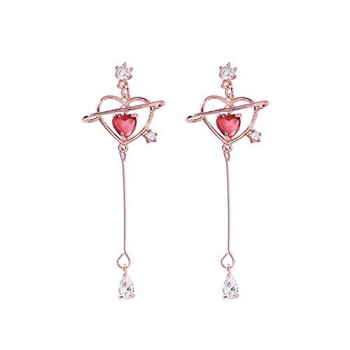 Bwer Elegant Geometric Heart Crystal Long Drop Earrings For Women Cute Delicate Zircon Party Pendientes Jewelry Gifts