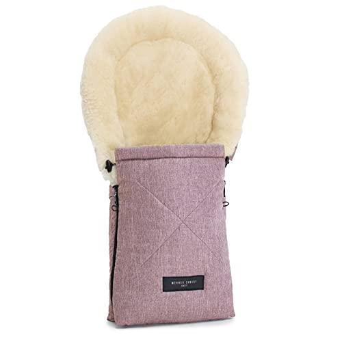 Lammfell-Fußsack OSLO für Babywanne von WERNER CHRIST BABY – universal Winterfußsack aus medizinischem Fell, für Tragetasche, Babyschale & Kinderwagen, in rosé
