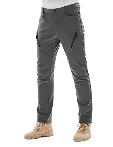 KUTOOK Pantalones Trekking Hombre Softshell Impermeables Invierno Esquiar y A Prueba de Viento Transpirables Cálidos Pantalones con Forro Polar para Montaña Escalada Running(Gris,XL)