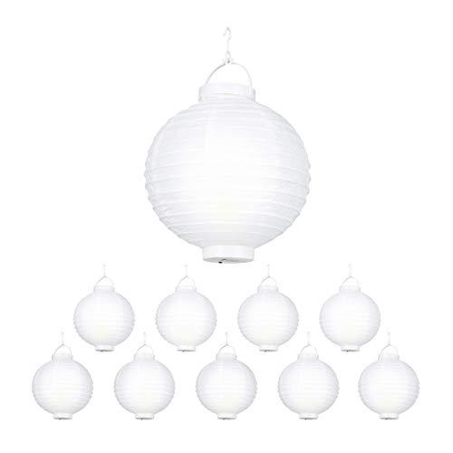 Relaxdays LED Lampions weiß, 10 Stück, batteriebetrieben, Draußen & Drinnen, zum Aufhängen, Papierlaterne, Ø 20cm, white