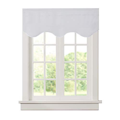 "Aquazolax Rod Pocket Blackout Scalloped Valances Curtain Premium Window Treatments Valance for Living Room, 52"" W x 18"" L, Greyish White, 1 Panel"