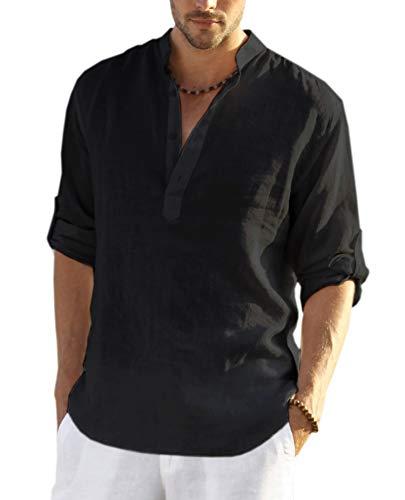 COOFANDY Men's Cotton Linen Henley Shirt Long Sleeve Hippie Casual Beach T Shirts Black