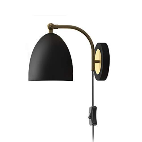 Retro Wandleuchte Verstellbar Schlafzimmer Wandlampe Mit Schalter, Schwarz Wandlampe Aus Metall Bettlampe Wand-Leselampe, Innen Lampe E27 Für Wohnzimmer Flur Studieren