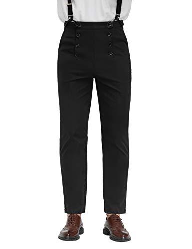 Men Steampunk Victorian Pants Classic Cosplay Costume Overalls Black 2XL