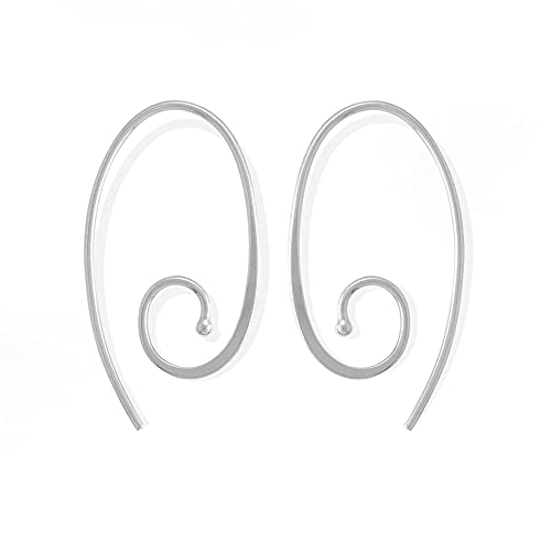 Boma Jewelry Sterling Silver Oval Spiral Pull Through Hoop Earrings