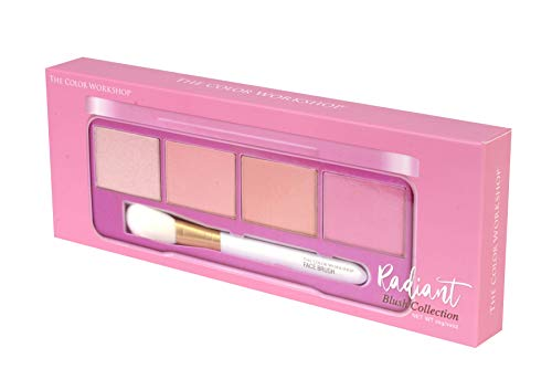 Essentials Radiant - Colorete, Rubor - Paleta de Blush con 4 Colores, Colorete Mate y Perlado y una Brocha Facial - Set de Maquillaje Profesional - California Collection - Maquillaje para Mujeres