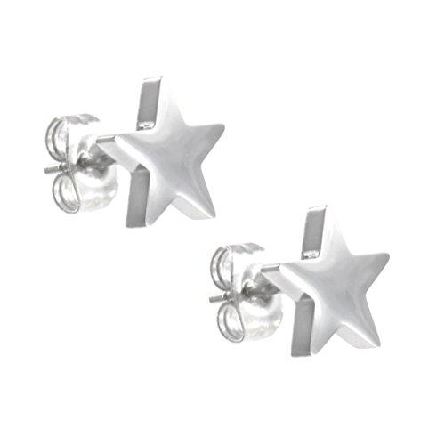 TEMPUS FUGIT. Pendientes Estrella de cinco Puntas. Acero Inoxidable Antialérgico Brillante. Inalterable por el uso