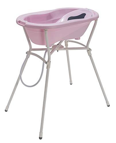 Rotho Babydesign Komplett-Badeset mit Wanne und Klapp-Ständer, 0-12 Monate, Max 25kg, TOP, Tender Rosé Pearl (Rosa), 21060020801