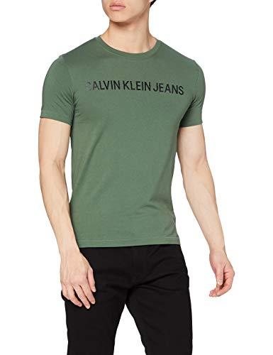 Calvin Klein Jeans INSTITUTIONAL Logo Slim SS Tee T-Shirt, Verde Anatra, S Uomo