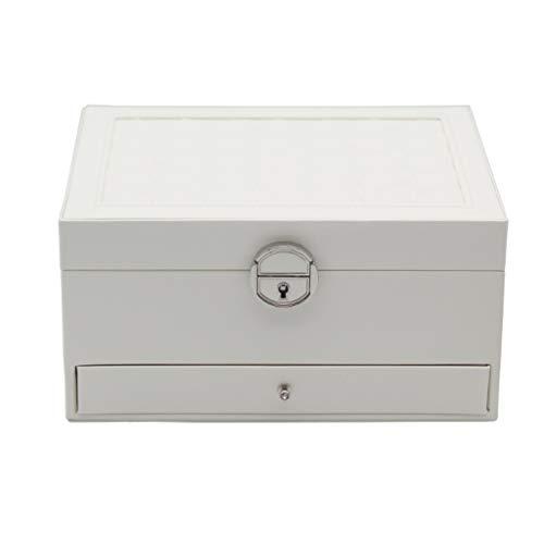 BWCGA Caja de joyería Organizador con la joyería pequeña Recorrido de la Caja, de 3 Capas de Almacenamiento Caso Anillos Pendientes Collares, Apertura con un Solo botón
