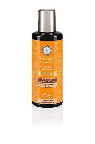 khadi Ayurvedisches Shampoo Nussgras 210ml I natürliches Haarshampoo für besondere Sprungkraft I 100% pflanzlich