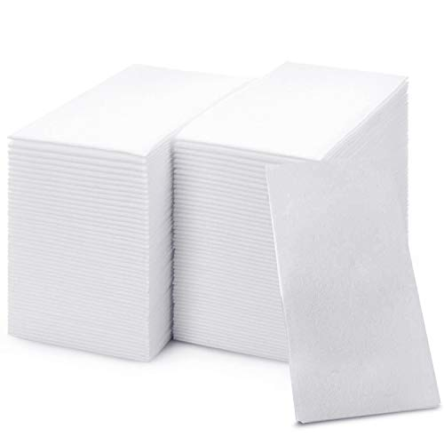 shawberri 100 Disposable Guest Towels for Bathroom, Premium Linen-Like, Multi-fold Cloth-Feel Napkins, a Hygienic Solution for Kitchen, Party, Weddings and Events