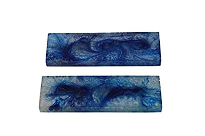 Buddha4all Resin Knife Scales Streaked Scales Fixed Blade Hunting Knife Pair Handles Material for Knifes (Blue)