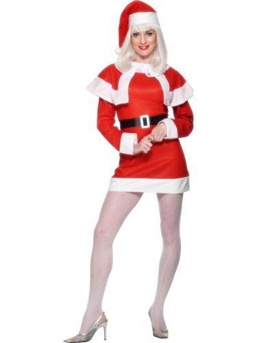 Smiffys Costume Mademoiselle Noël polaire, Rouge, avec robe,