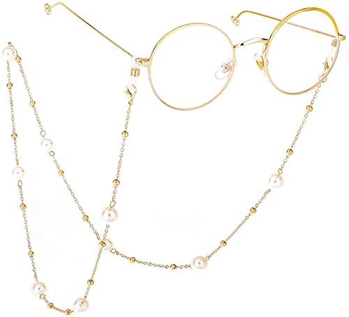YUIOLIL Cadena de Gafas Cadena de suéter Dos usos Clip de Perlas Cuello Colgante para Evitar caídas 2 Piezas para niñas