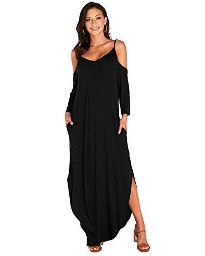 VONDA Kleid Damen Herbst Langarm Sexy Maxikleider Schulterfrei Kleider Lang Elegant Jerseykleider Lose Rundhals Winterkleid 1A-Schwarz L