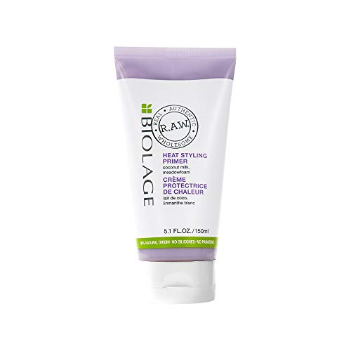 BIOLAGE R.A.W. Heat Styling Primer | Primes Hair & Protects From Heat Damage | With Coconut Milk & Meadowfoam | Silicone & Paraben-Free | For All Hair Types | 5.1 Fl. Oz.