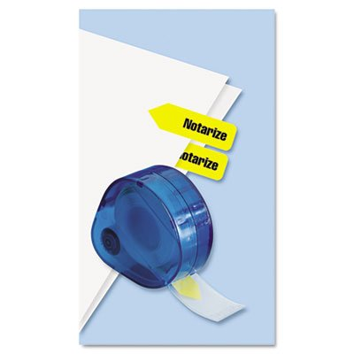 Arrow Page Flags in Dispenser, Notarize'', Yellow, 120 Flags/Dispenser, Sold as 1 Package, 120 Each per Package