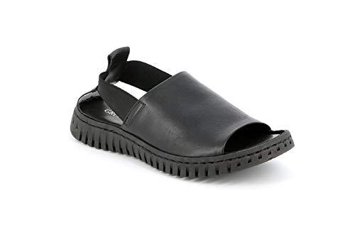 Grunland GIME, Sandalo da Donna in Pelle Premium, Nero Woman, SA2538, Elastico (Numeric_35)