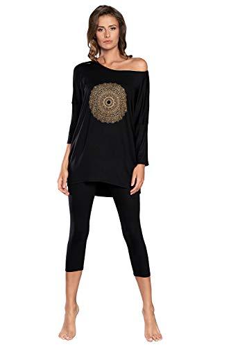 Italian Fashion IF Leggings 3/4 para mujer de dos piezas, de viscosa, elegante, sexy, cómodo pijama de verano Negro M