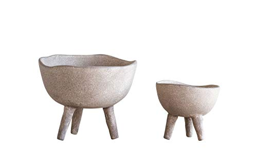 Creative Co-Op Large Matte Taupe Terracotta Footed Planter