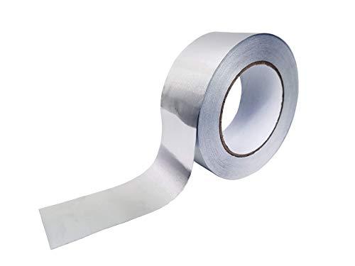 Cinta adhesiva de aluminio 50mm x 10m. Para reparaciones. Aislante, resistente a altas temperaturas. Para conductos, aire acondicionado, calentadores y estufas.