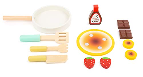 Small Foot 11467 Wooden Pancake Set, with pan, Spatula, Knife and Fork as Well as Ingredients, for Ages 3 Years and up Toys, Multicolored