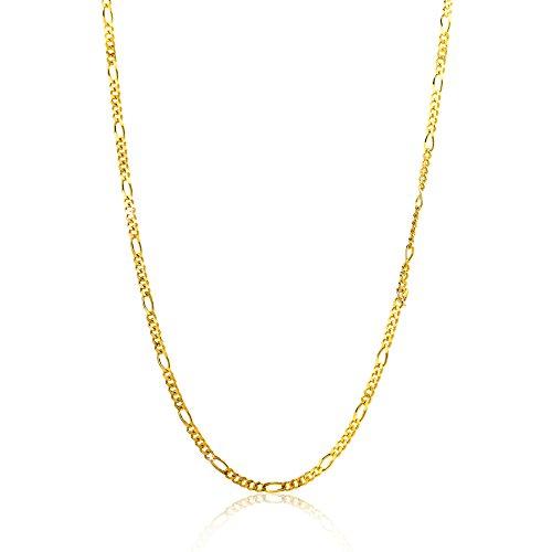 Orovi Damen Figarokette Halskette 14 Karat (585) GelbGold Figaro diamantiert Goldkette 1,1mm breit 45cm lange